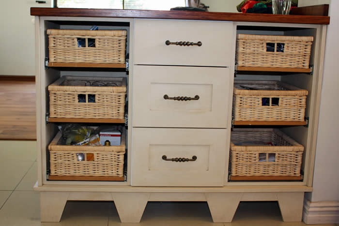 Island Unit with Wicker Basket Drawers