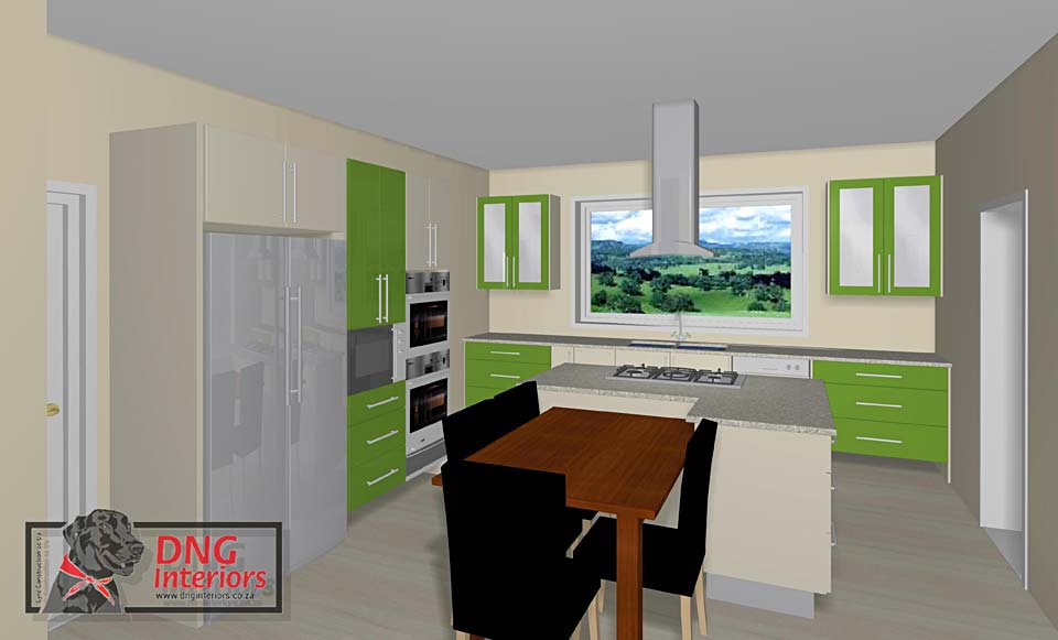 High Gloss Jasmine & High Gloss Lime Green Cabinetry