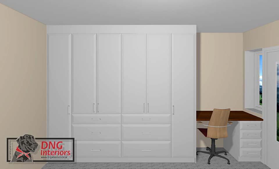 Off-white Woodgrain PVC-wrap Wardrobes & Desk