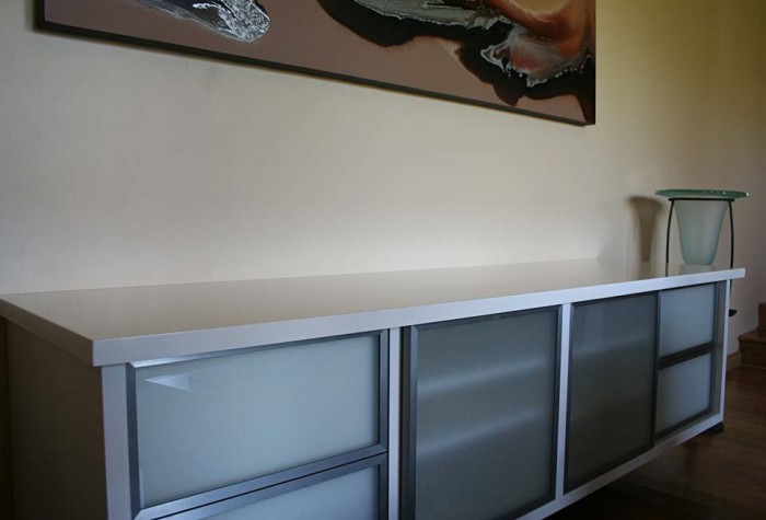 High Gloss Jasmine TV Cabinet with Stainless Steel framed sand-blasted glass doors